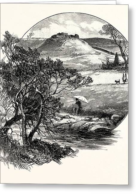 Dally Castle Is A Ruined 13th Century Stone Motte Greeting Card by English School