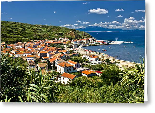 Dalmatian Island Of Susak Village And Harbor Greeting Card