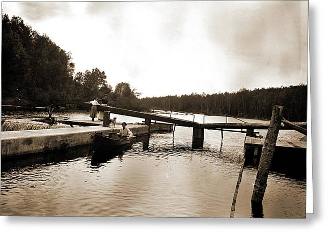 Dam And Lock, Saranac River, Adirondack Mtns Greeting Card by Litz Collection
