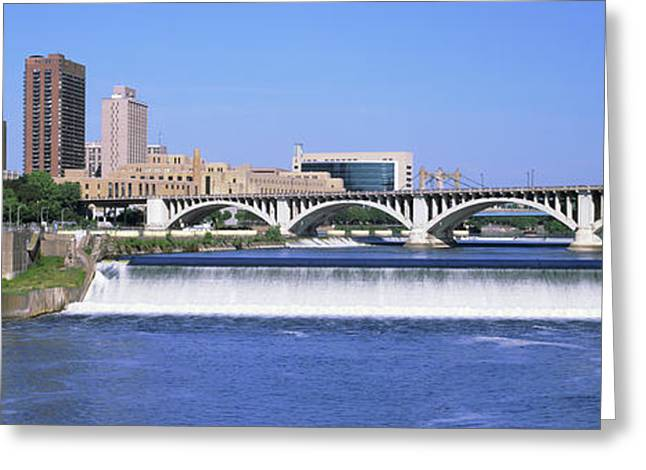 Dam Over A River, Upper St. Anthony Greeting Card by Panoramic Images