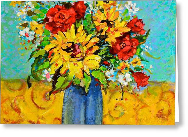 Damask Sunflowers Greeting Card by Sharon Furner