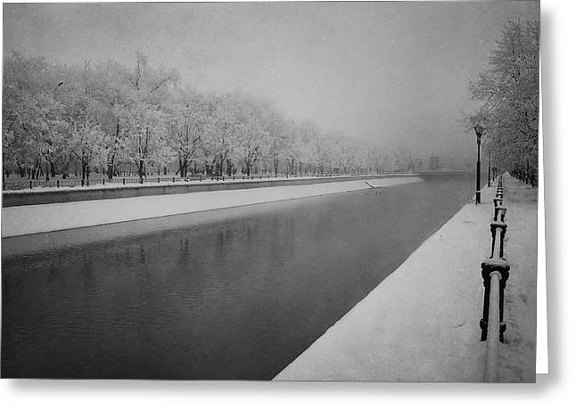 Dambovita River In Winter Greeting Card