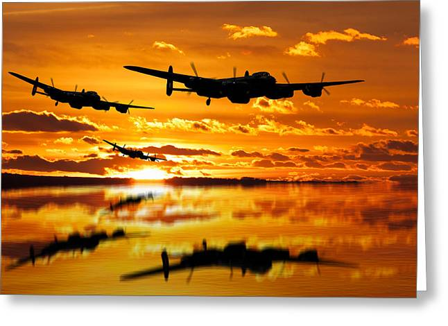 Dambusters Avro Lancaster Bombers Greeting Card by Ken Brannen