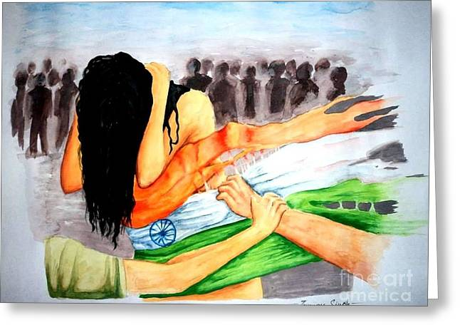 Delhi Gang Rape A Tragedy Greeting Card by Tanmay Singh