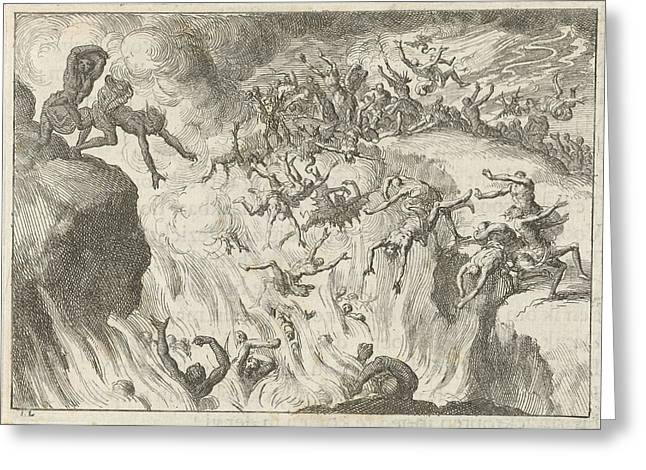 Damned Are Thrown Into The Eternal Fire, Jan Luyken Greeting Card by Jan Luyken And David Ruarus