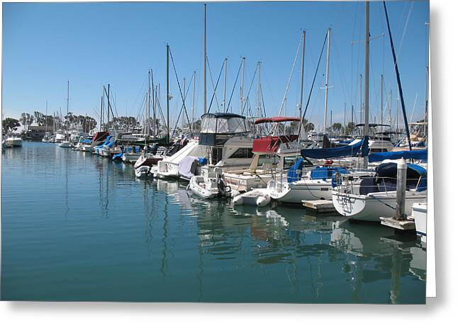 Dana Point Harbor Greeting Card by Connie Fox
