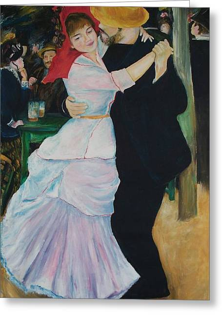 Greeting Card featuring the painting Dance At Bougival Renoir by Eric  Schiabor