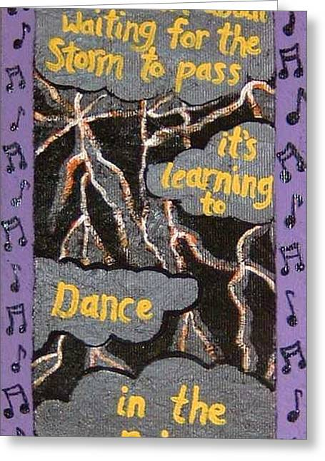 Dance In Rain Greeting Card by Yvonne  Kroupa