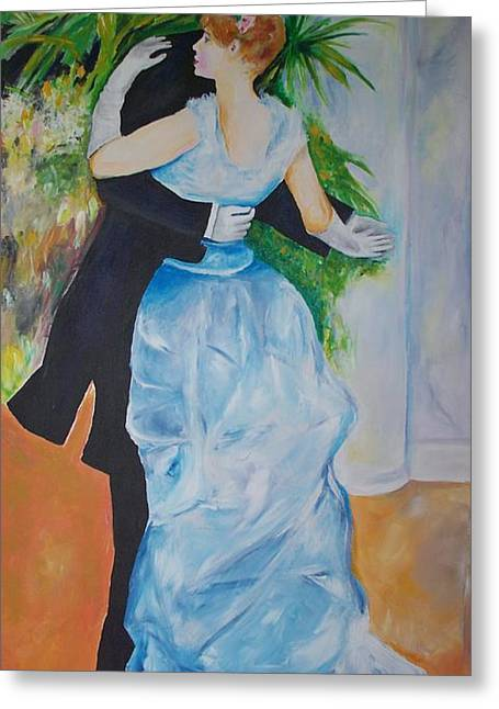 Greeting Card featuring the painting Dance In The City  by Eric  Schiabor