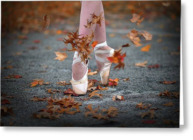 Dance In The Fall Wind Greeting Card