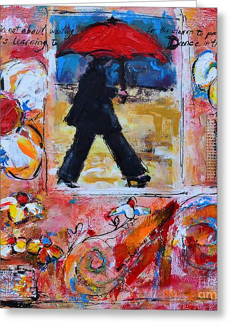 Dance In The Rain Under A Red Umbrella Greeting Card by Patricia Awapara