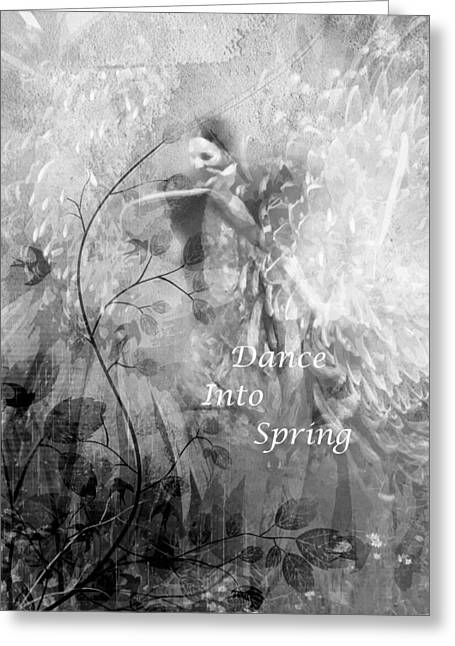 Dance Into Spring Black And White Greeting Card