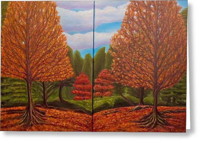 Dance Of Autumn Gold With Blue Skies  Greeting Card