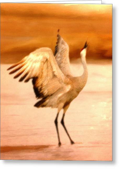 Dance Of The Crane Greeting Card by Dennis Buckman