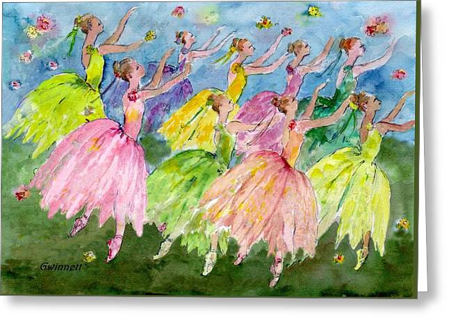 Dance  Of The Flowers Greeting Card by Kathleen  Gwinnett