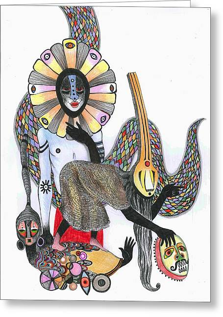 Dance Of The Masks, 2012 Pen, Ink And Colour Pencils On Paper Greeting Card by Zanara/ Sabina Nedelcheva-Williams