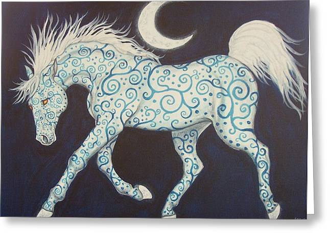 Dance Of The Moon Horse Greeting Card by Beth Clark-McDonal