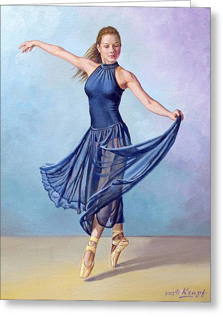 Dancer In Dark Blue Greeting Card by Paul Krapf
