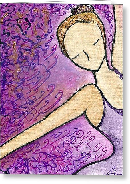 Greeting Card featuring the painting Dancer In Electric Pink by Gioia Albano