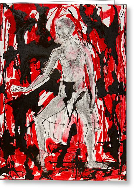 Dancer In Red And Black Greeting Card by Brenda Clews