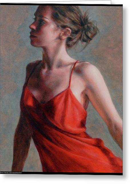 Dancer In Red Slip Greeting Card