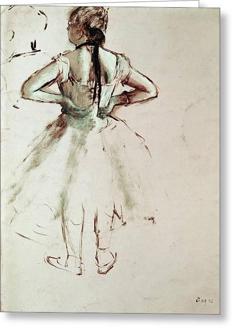 Dancer Viewed From The Back Greeting Card by Edgar Degas