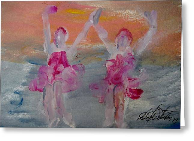 Dancers 135 Greeting Card by Edward Wolverton