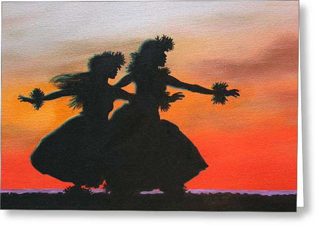 Dancers At Sunset Greeting Card by Wahine Art