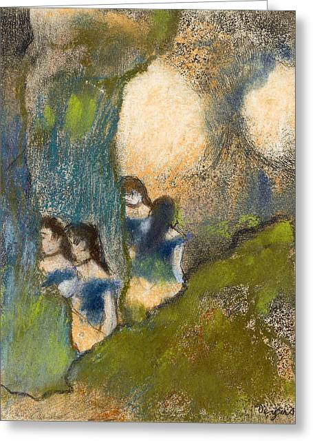 Dancers Behind The Scenes Greeting Card by Edgar Degas