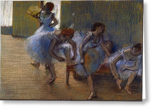 Dancers On A Bench, 1898 Greeting Card by Edgar Degas