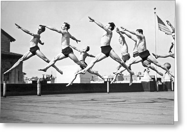 Dancers Practice On A Rooftop. Greeting Card