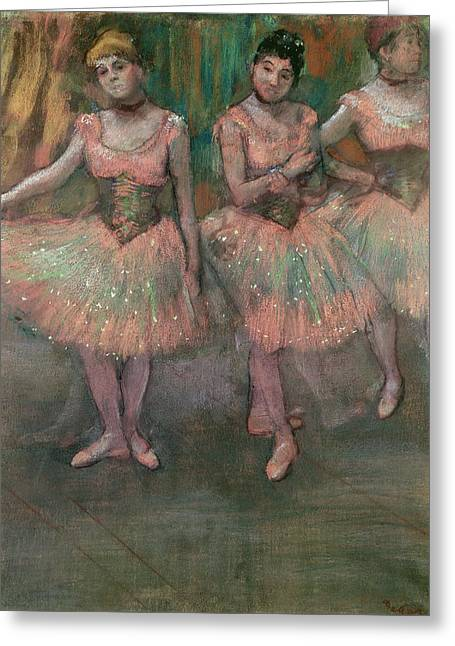 Dancers Wearing Salmon Colored Skirts Greeting Card