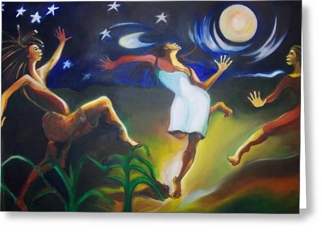 Dancin In The Moonlight Greeting Card by Joyce McEwen Crawford