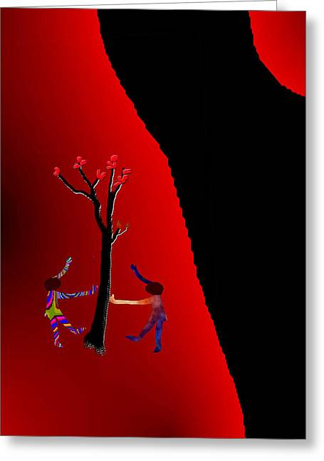 Greeting Card featuring the digital art Dancing Around A Tree by Asok Mukhopadhyay