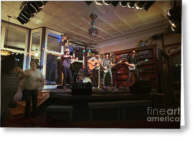 Dancing At The Purple Fiddle With Bryan Elijah Smith And The Wild Heart Band  Greeting Card by Dan Friend