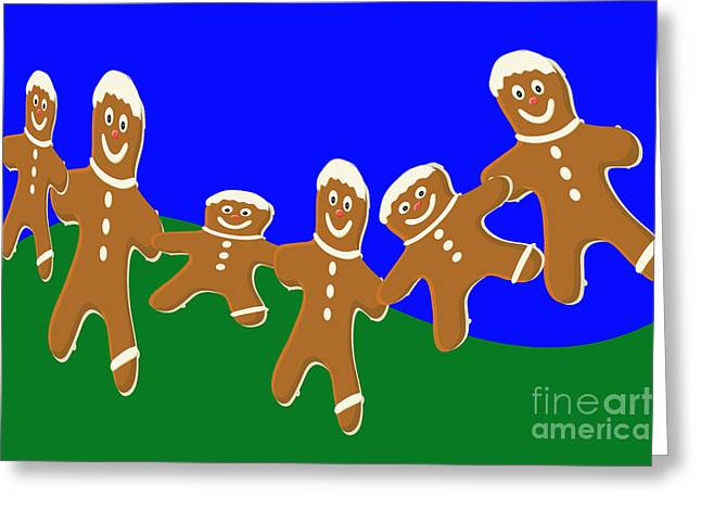 Dancing Cookies Greeting Card by Tina M Wenger