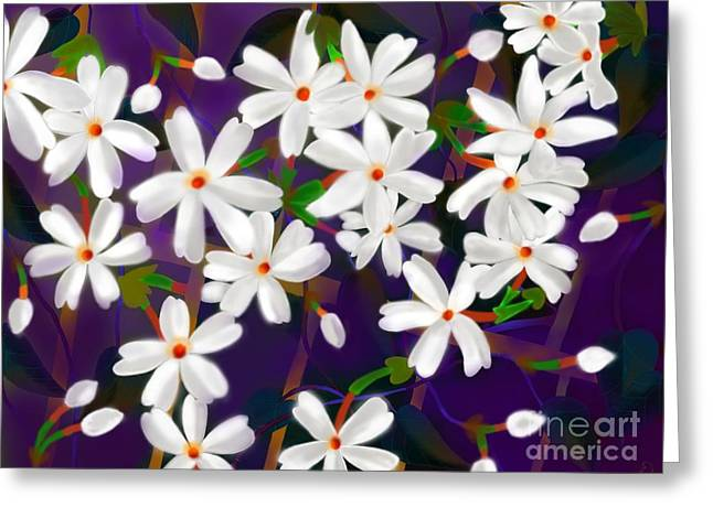 Greeting Card featuring the digital art Dancing Coral Jasmines by Latha Gokuldas Panicker