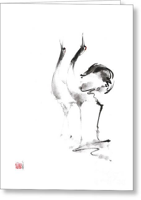 Dancing Cranes Japanese Artwork Greeting Card by Mariusz Szmerdt