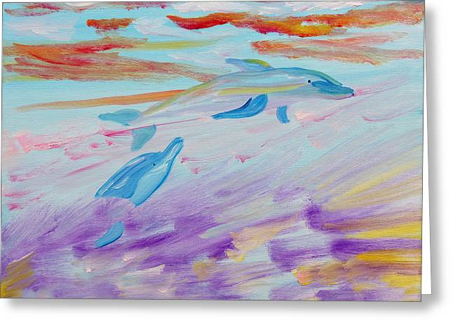 Greeting Card featuring the painting Dancing Dolphins by Meryl Goudey