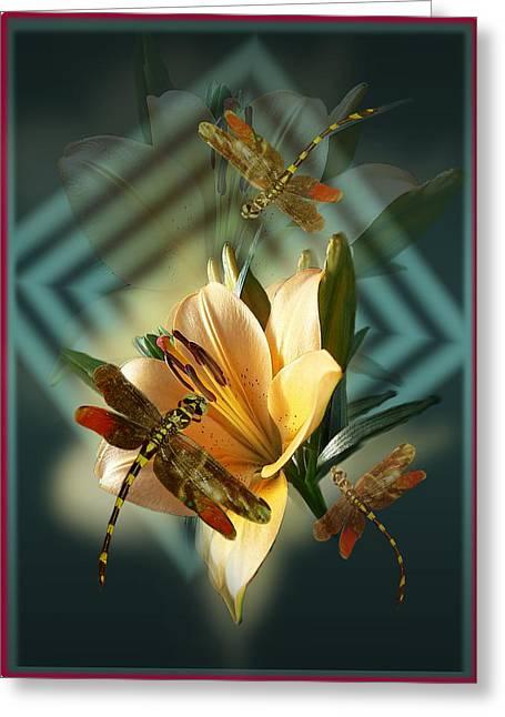 Dancing Dragonflies  Greeting Card by Regina Femrite