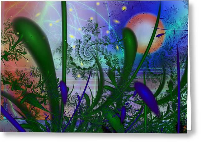 Dancing Fireflies Greeting Card by Faye Symons