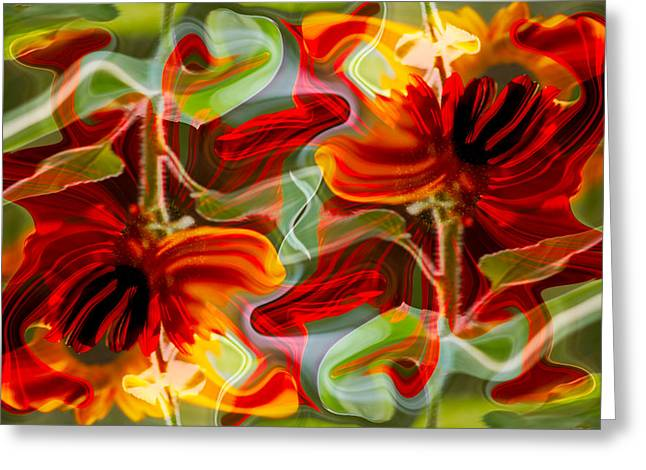 Dancing Flowers Greeting Card by Omaste Witkowski