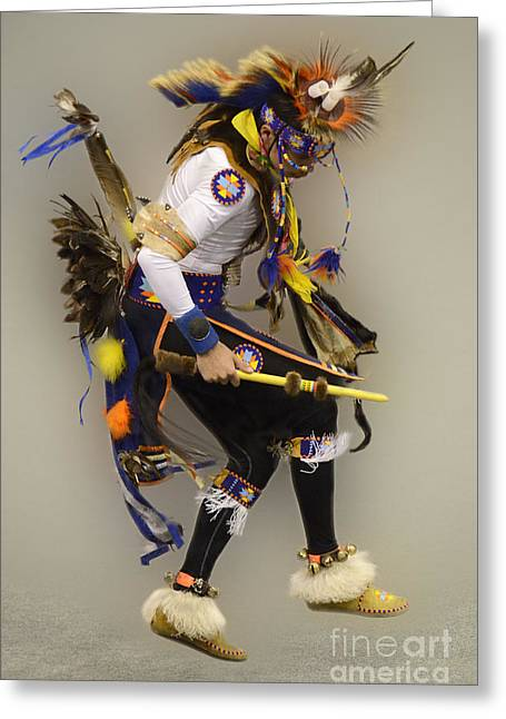 Pow Wow Dancing For The Spirit Greeting Card by Bob Christopher