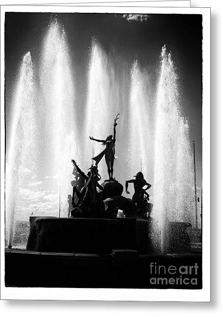 Dancing Fountain Greeting Card by John Rizzuto