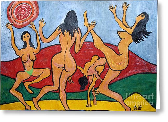 Dancing Four Nymphs Greeting Card by Taikan Nishimoto