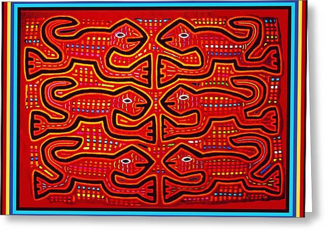 Greeting Card featuring the digital art Dancing Geckos by Vagabond Folk Art - Virginia Vivier