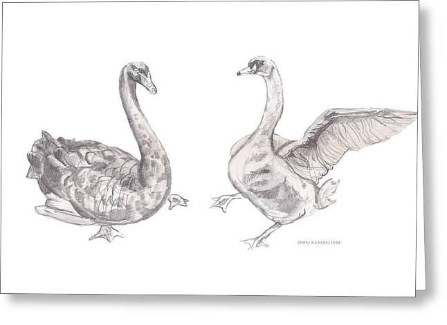 Dancing Geese Greeting Card by John Keaton