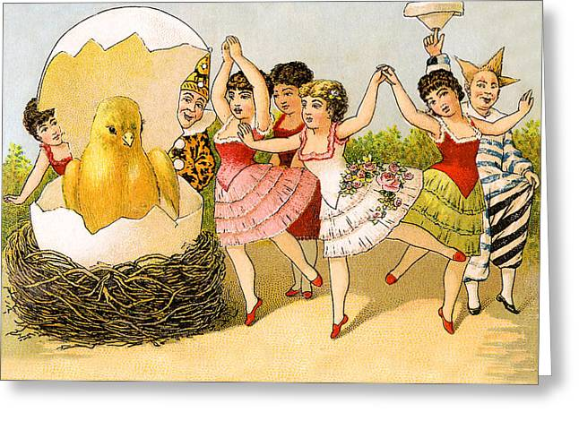 Dancing Girls Greeting Card by Munir Alawi