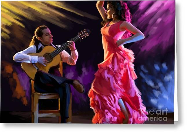 Dancing Gypsy Woman Greeting Card