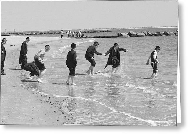 Greeting Card featuring the photograph Dancing Hasidm Coney by Dave Beckerman
